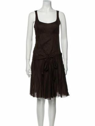 Celine Scoop Neck Knee-Length Dress Brown