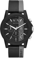Armani Exchange Outerbanks Black Silicone Strap Mens Watch