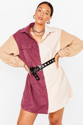 Nasty Gal Womens Writers Block Plus Two-Tone Shirt Dress - Mauve