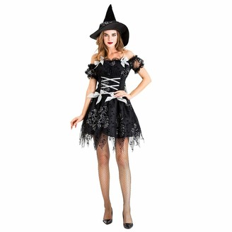 Squarex Women Dress squarex Women Clothing Sexy Halloween Cosplay Witch Vintage Gothic Festival Short Dress Plus Size Dress Great Gift for Women Cocktail Party Dress Black