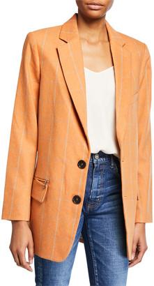 Tibi Dexter Menswear Check Long Blazer