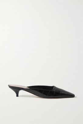 PORTE & PAIRE Croc-effect Leather Mules - Black