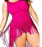 Lukitty Women's Plus Size One Piece Retro Tassels Bikini Swimsuit Swimwear XXXXXL