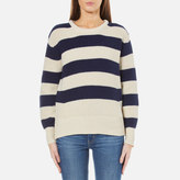 Maison Scotch Women's Cotton Mix Pullover with Shaped Sleeves Multi