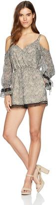 GUESS Women's Long Sleeve Beverly Surplice Romper