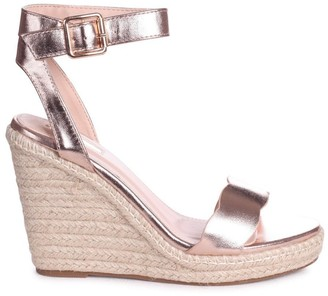 Linzi MARS - Rose Gold Rope Platform Wedge With Wavey Front Strap
