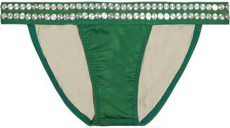 Norma Kamali 17 Banded Studded Low-rise Bikini Briefs