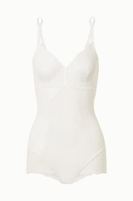Spanx Spotlight Stretch-tulle And Lace Bodysuit - White