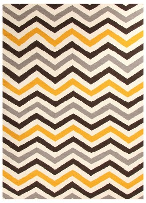 Unitex International Flat Weave Chevron Rug Yellow/brown