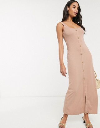 ASOS DESIGN rib square neck button through maxi dress in camel