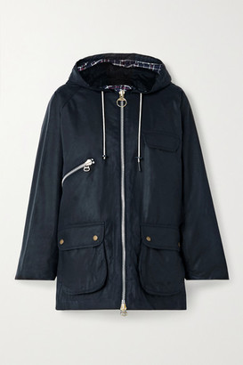 Barbour + Alexachung Violet Corduroy-trimmed Waxed-cotton Jacket - Navy