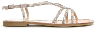 Df By Daniel Kloss Silver Twist Strap Diamante Sandal