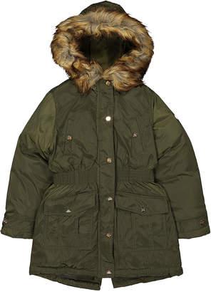 Steve Madden Girls' Anoraks & Parkas OLIVE - Olive Logo Faux Fur-Trim Hooded Snap-Pocket Anorak - Girls