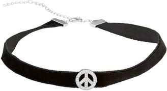 Sterling Silver Cubic Zirconia Peace Symbol Velvet Choker Necklace