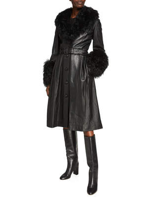 Saks Potts Foxy Long Lamb Leather Shearling-Trim Coat