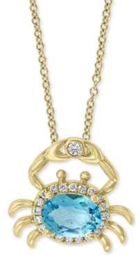 "Effy Blue Topaz (1-1/6 ct. t.w.) & Diamond (1/8 ct. t.w.) Crab 18""Pendant Necklace in 14k Gold"