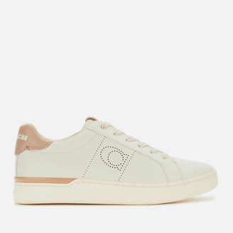 Coach Women's ADB Leather/Suede Cupsole Trainers - Chalk/Taupe
