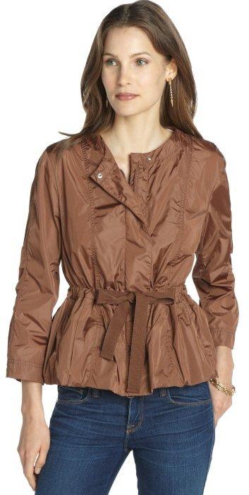 Moncler copper 'Afrodite' peplum waist collarless coat