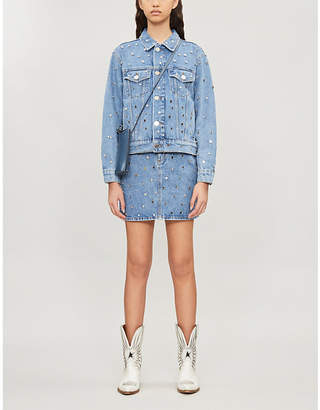 Sandro Mirrored stud-embellished denim jacket
