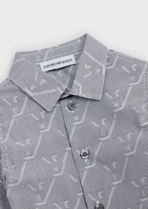 Emporio Armani Cotton Shirt With All-Over Jacquard Eagle Motif