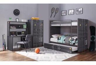 """Parke 47"""" Writing Desk with Hutch and Chair Set 17 Stories Color: Gunmetal"""