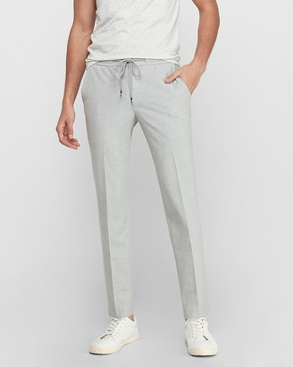 Express Extra Slim Light Gray Luxe Comfort Knit Drawstring Suit Pant