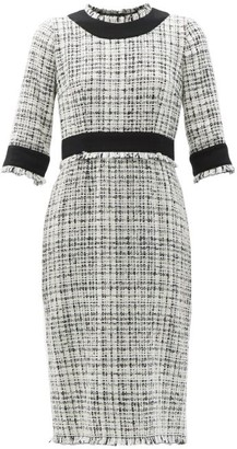 Dolce & Gabbana Tailored Tweed Pencil Dress - White Black