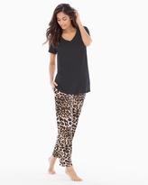 Soma Intimates Ankle Pants Pajama Set Lovely Leopard Natural