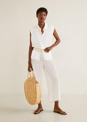 MANGO Sleeveless shirt off white - 2 - Women