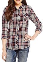 Miss Me Chiffon Printed Back Plaid Shirt
