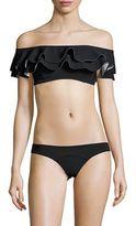 Lisa Marie Fernandez Ruffled Off-the-Shoulder Bikini Top