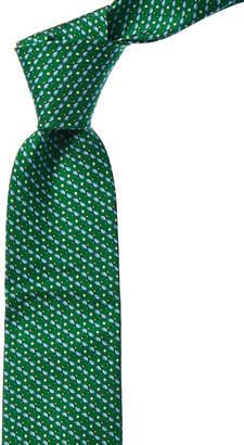 Salvatore Ferragamo Green & Blue Fish Silk Tie