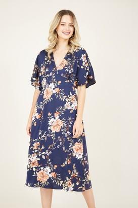 Yumi Navy Kimono Midi Dress