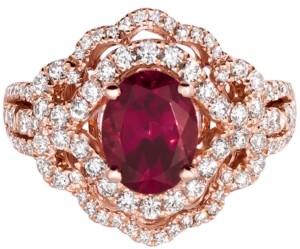 LeVian Le Vian Raspberry Rhodolite (1-9/10 ct. t.w.) & Diamond (7/8 ct. t.w.) Ring in 14k Rose Gold