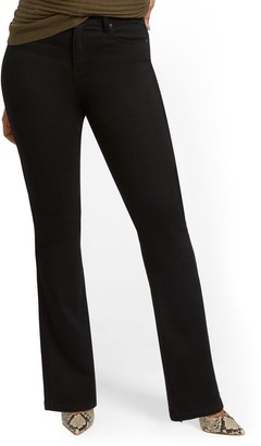New York & Co. Petite High-Waisted Curvy Barely Bootcut Jeans - Black
