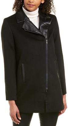 Ecru Leather-Trim Car Coat