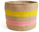 Yellow & Pink Striped Basket - Kenya
