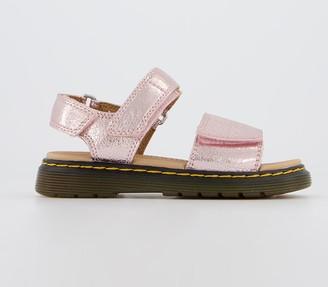 Dr. Martens Romi Sandals Youth Pink Salt Crinkle Metallic
