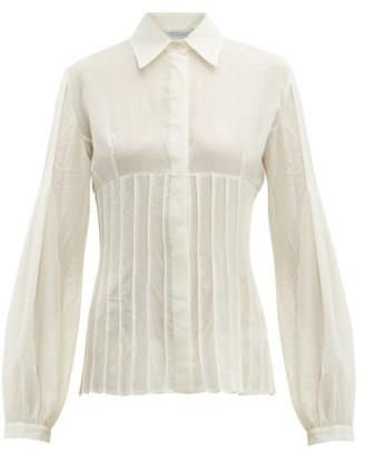Gabriela Hearst Gertrude Pintucked Wool Blend Blouse - Womens - Ivory
