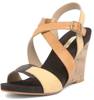 Dorothy Perkins Black cork footbed wedges