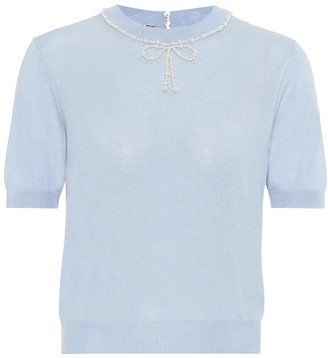 Miu Miu Embellished silk and cashmere top