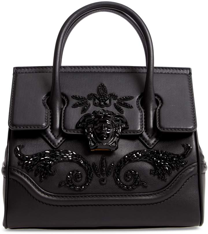Versace Palazzo Empire Medium Crystal Embellished Leather Satchel