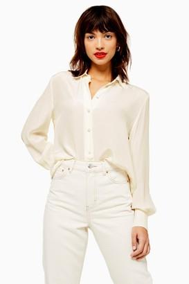 Topshop Ivory Silk Shirt