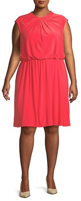 Adrianna Papell Plus Cap-Sleeve Fit--Flare Dress