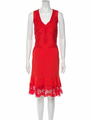Jonathan Simkhai Lace Pattern Midi Length Dress w/ Tags Red