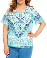 Allison Daley Plus Crew-Neck Printed Embellished Detail Knit Top