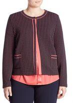 Basler, Plus Size Plus Waffle Textured Short Jacket
