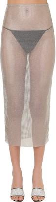 Alessandra Rich Crystal Mesh Stretch Midi Skirt