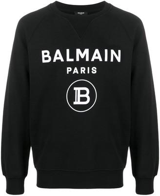 Balmain Flocked-Logo Raglan Sleeves Sweatshirt