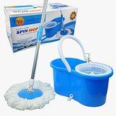 MOP Woodsam Magic Spin Easy Press Bucket Set - 360° Rotation Push & Pull - Liquid Drain Hole - Easy Wring with Reusable Heads - Non Pedal